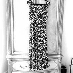 Chico's Long Black & White Zebra Print Dress